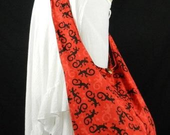 Gecko Heart Hippie Hobo Sling Crossbody Bag Purse Cotton Messenger Animal Print Top Zip Unisex XL