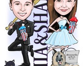CUSTOM ILLUSTRATED Just for You!  Bar Mitzvah, Bat Mitzvah, B'nai Mitzvah Save the Dates, Invitations, Sign in Boards