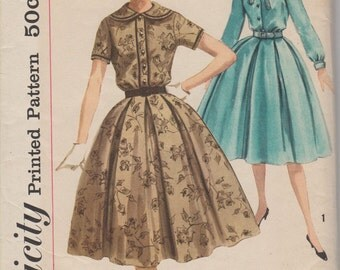 Bust 32-FACTORY FOLDED 1950's Misses' Dress With Detachable Collar and Bow Simplicity 2683 Size 12