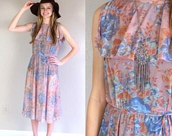 vtg 60s sheer FLORAL full skirt Boho PRINT DRESS Large ruffle dusty mauve hippie romantic