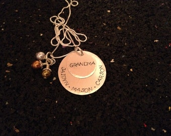 Hand Stamped Jewelry - Sterling Silver Grandma Necklace with Swarovski Pearls or Crystals