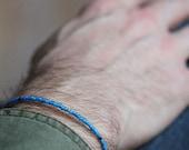 venice aqua trade small bead bracelet for men - mens small bracelet with light blue vintage beads,  black gems and goldplated beads