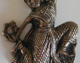 Vintage SIAM sterling dancer brooch
