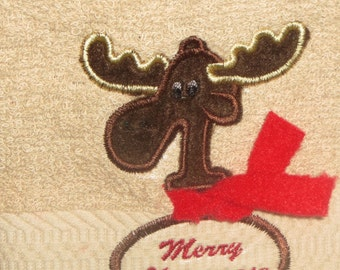 Christmas Moose Hand Towel for your Cabin or Lodge bath Decor