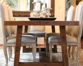 The Pecky Dining Table-Farmhouse Style Table Made Reclaimed New Orleans Homes