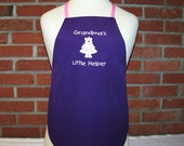 Girl's Apron with Embroidered Girl Bear Grandma's Little Helper Handmade and Lined with Print Fabric Can be Personalized with Child's Name
