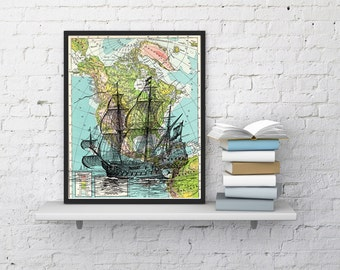 Summer Sale Old Ship on Map Vintage Book Print Dictionary or Encyclopedia Page Print map  Print on Vintage Book art SEA113