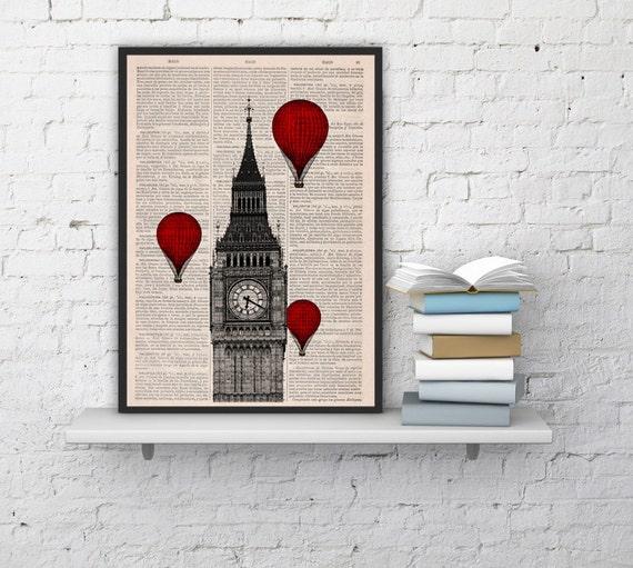 DECORATIVE ART, London Monument  Big Ben Tower Balloon Ride, Wall hanging, book page art, Big ben wall art decor,Red hot air balloons BPTV09
