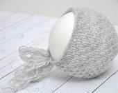 Textured light gray bonnet knit mohair newborn round back hat baby girl boy romantic vintage unisex photography prop - choose a color