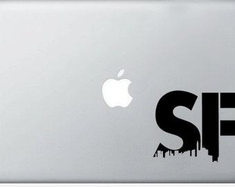 San Francisco vinyl laptop DECAL- macbook iPad computer, SF Urban City Sticker