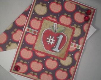 Teacher Thank You Card, Apples Card, Teacher Card, Handmade Thank You Card, Thank You Card, Apples, Teacher