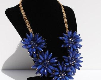 Dahlia Navy Flower Necklace