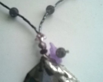 "Grey necklace with crystal ""Motherhood"""