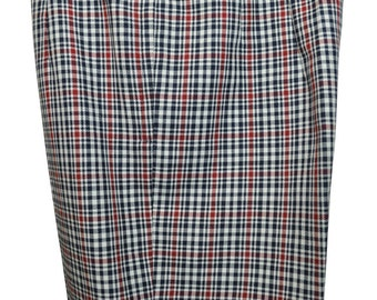 Size 8 / Medium Women's White, Navy Blue, and Burgundy Women's Plaid Pants