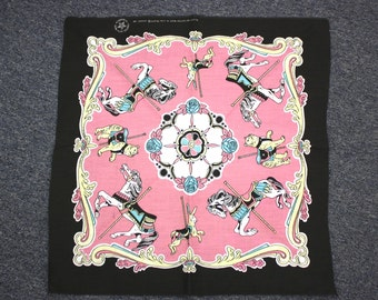 Vintage Black/Pink/Yellow/Blue Carousel Bandanna Made in USA (E4547)