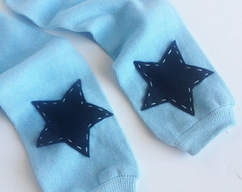 Baby Blue and Navy Blue Star Leg Warmers, Boy Leg Warmers