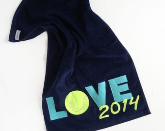 Ready to ship Blue LOVE Tennis Towel, Mother's Day Gift, Teacher Gift, Tennis Accessory