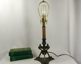 Table Lamp Deco Vintage Faces Scrolls Art Nouveau Newly Rewired Original Finish