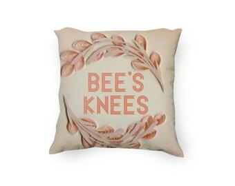 Bee's Knees pillow, 1920s inspired pillow, Floral pillow, Coral pillow, Decorative Pillow, printed pillow, velveteen Pillow Cover