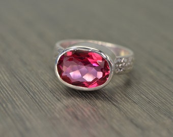 Rose Pink Topaz, 8ct oval silver chunky wide band ring - Fiona Ring
