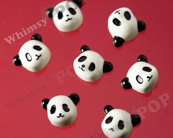 10 - Little Black and White Panda Bear Head Cabochon, Panda Cabochons, 15mm x 12mm (R6-089)