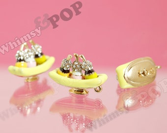 1 - 3D Banana Split Dessert Ice Cream Enamel and Crystal Kawaii Sundae Foodie Charm, Banana Split Charm, Sundae Charm, 26mm x 18mm (3-5E)