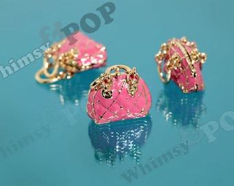 1 - 3D Gold Tone Kawaii Tote Purse Handbag Hot Pink Handbag Charm Pendant, Handbag Charm, Purse Charm, 29mm x 26mm (1-5G)