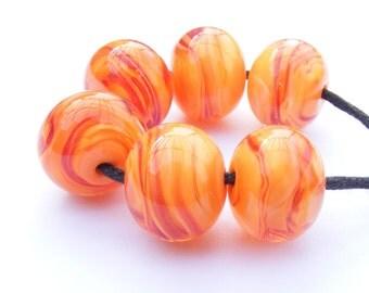 Handmade lampwork beads - set of 6 bright orange sunset lampwork glass beads