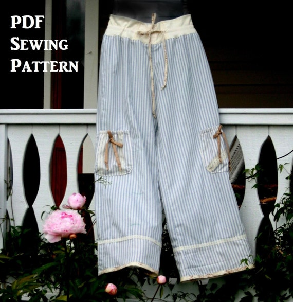 Pdf Sewing Pattern Womens Lounge Pants Easy Fit Printable