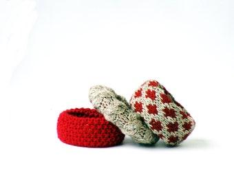 Hand knit bangle bracelets, red textile jewelry set, ruby red wrist cuff bracelet