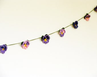 Girl nursery decor, crochet garland, violet flower garland, eco friendly bunting, violet pink wall hanging, flower banner, pansy flower