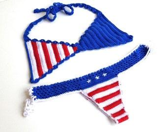 American flag bikini women swimsuit bikini top bikini bottom brazilian bikini bottom patriotic bikini stars and stripes senoAccessory