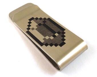 8-Bit Gamer Bling Stainless Steel Money Clip 8 Bit Old School Video Game Billfold