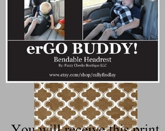 Carseat Pillow erGO BUDDY Bendable baby / toddler headrest carseat pillow and cover in Brown Moroccan Tile