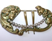 Vintage Art Nouveau Buckle/Hair Comb Brass Prong Set Rhinestones