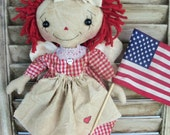 Primitive raggedy Ann Doll Retro Patriotic Americana  Angel