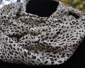 Leopard Black and Brown Light Chiffon infinity Scarf Cowl Neck
