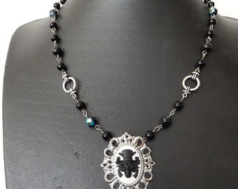 Sale Black skull necklace