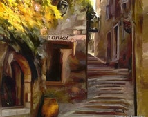 Streets of Paris  - Digital Painting France Landscape LARGE A4 A3 or A2 Limited Edition Art Print from RussellArt