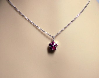 Swarovski Fuchsia Crystal White Gold Necklace, Valentines Mothers Day Gifts, Bridesmaid Mom Sister Girlfriend Jewelry Gift