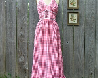 Vintage 70' GOODY GIRL GINGHAM Maxi Halter Dress