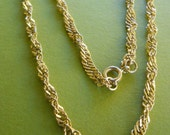Warm Twisted Gold Tone Chain With Shiny Hammered Links