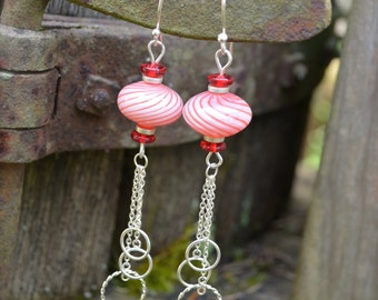 Red and White Striped Earrings Glass Beads with Silver Chain