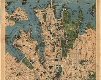 Sydney, Australia Map, Vintage 1922 - 13x19 or 8.5x11 inches