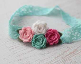 Rose Cluster Headband in Pink, Mint, White and Flamingo  - Newborn Baby to Adult - Wool Felt Flower Headband