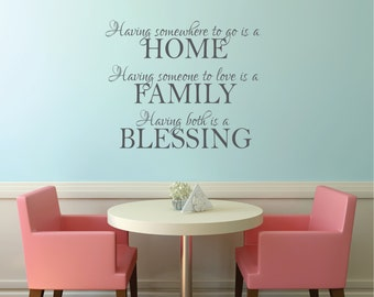 HOME, FAMILY, BLESSINGS Wall Decal...Family Vinyl Wall Decal - Vinyl Wall Art - Vinyl Lettering