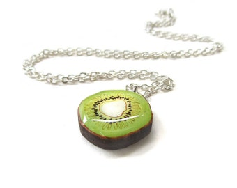 SALE Handmade Green Kiwi Fruit Charm necklace.  50% OFF!