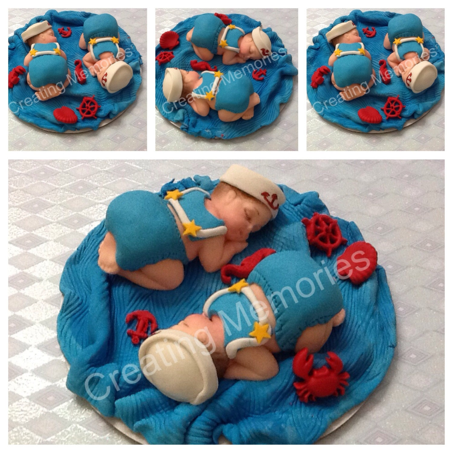 Twin Baby Shower Cake Toppers: Twin Babies Sailors Cake Topper For BABY SHOWER Or Any