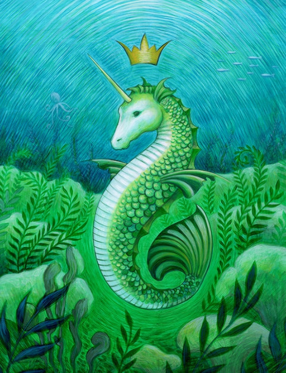 Deer bathroom decor - Seahorse Unicorn Mermaid Ocean Seascape Art Print Bathroom