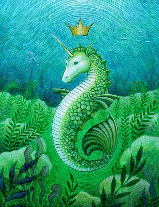 Seahorse unicorn mermaid Ocean seascape art print by EyaClaire